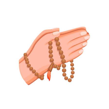 muslim hand holding wooden beads praying, islam religion symbol in cartoon illustration vector on white background
