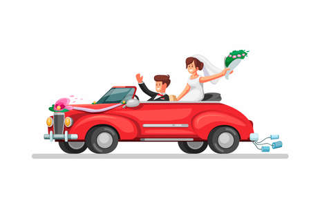 Bride on retro convertible car just married couple. wedding car symbol in cartoon illustration vector on white background