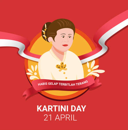 Kartini Day celebration for R.A Kartini the heroes of women and human right in Indonesia. in cartoon flat illustration Vector