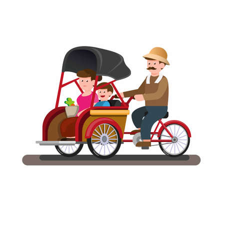 Becak or trickshaw indonesian traditional public transportation with passenger in cartoon flat illustration vector isolated in white background Vetores