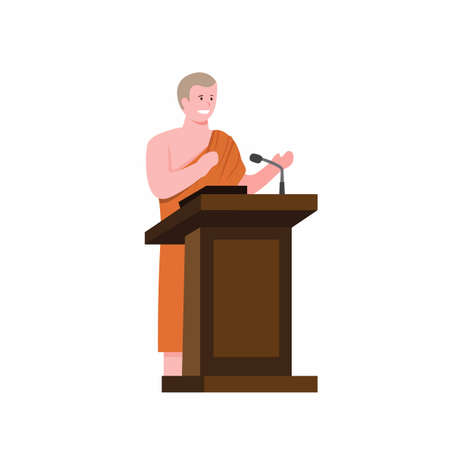 Buddisht Monk in podium speech and to public in cartoon flat illustration vector isolated in white background Vectores