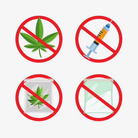 no weed, narcotic and drug collection icon set, flat illustration vector isolated in white background