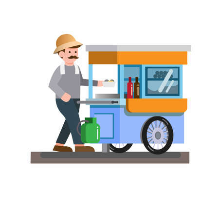 man selling traditional street food noodle meatball soup, cart, trolley, flat design vector