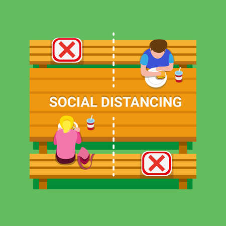 Social distancing guidance people keeping distance in foodcourt table, school canteen or public park to protection from virus infection disease in cartoon flat illustration vector Vettoriali