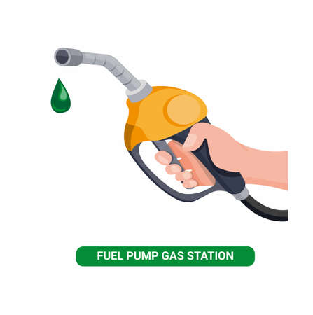 Hand holding fuel nozzle, petrol pump with oil drop in gas station cartoon flat illustration vector isolated in white background