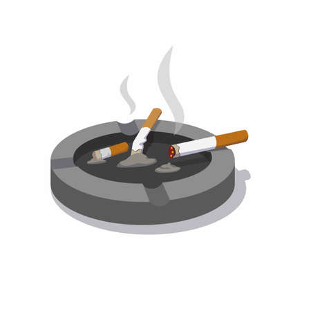 Cigarette in ashtray with smoke and shadow effect realistic illustration isometric editable vector