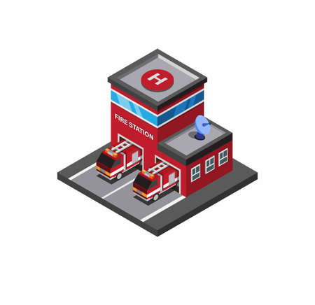 fire station, fire fighter rescue building with fire truck with white background isometric illustration editable vector  イラスト・ベクター素材