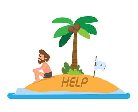man stranded in island flat illustration vector