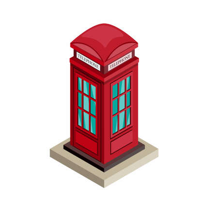 Telephone booth, British landmark building symbol icon in white background illustration in isometric editable 向量圖像