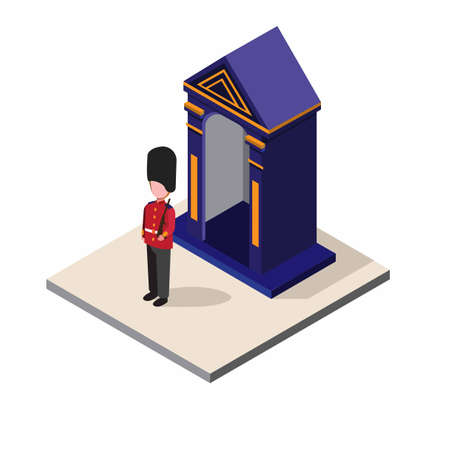 british soldier, england, uk man wear army uniform patrol in post isometric illustration editable vector