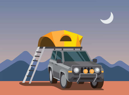 expedition with suv car, auto camping tent, tent on the roof of the car, adventure trip, flat vector illustration