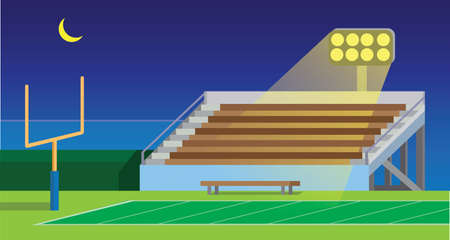 american football school, collage, amateur, stadium field in night flat illustration vector