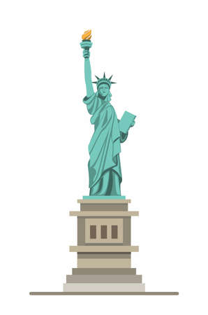 liberty statue monument, american famous landmark in front view. cartoon illustration vector isolated in white background