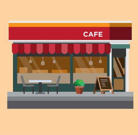 coffe shop, cafe flat design illustration vector