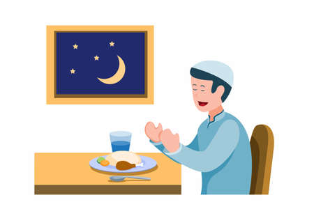 man pray before meal to breaking the fast, muslim activity eating for fasting in ramadan season. cartoon flat illustration vector