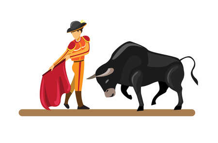 spanish traditional attraction bull and matador in cartoon flat illustration vector isolated in white background
