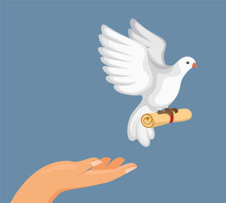 train pigeon carrier to deliver a message, hand release pigeon bird with roll paper message in cartoon flat illustration vector Ilustración de vector