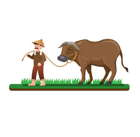 farmer man walking with his buffalo to rice field, asian people activity in countryside. cartoon flat illustration vector isolated in white background Illusztráció
