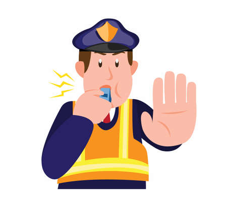 police patrol blowing whistle and asking someone to stop in cartoon flat illustration vector isolated in white background