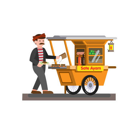 Man selling satay chicken indonesian traditional food in cart cartoon flat illustration vector isolated in white background