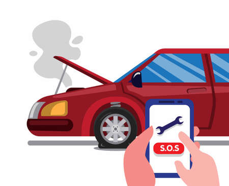call roadside emergency assistance using smartphone in car accident. car insurance service concept in cartoon flat illustration vector isolated in white background