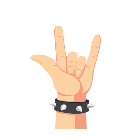 heavy metal hand symbol, human hand with spike bracelet in cartoon flat illustration isolated in white background