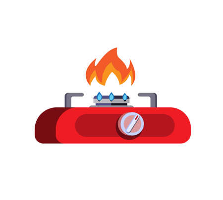 Gas stove mini red, icon symbol in cartoon flat illustration vector isolated in white background