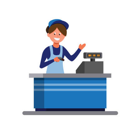 groceries woman cashier in uniform and apron stands behind cash desk ready to help customer. cartoon flat illustration vector isolated in white background