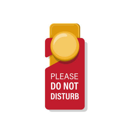 do not disturb sign in door handle hotel room cartoon flat illustration vector isolated in white background