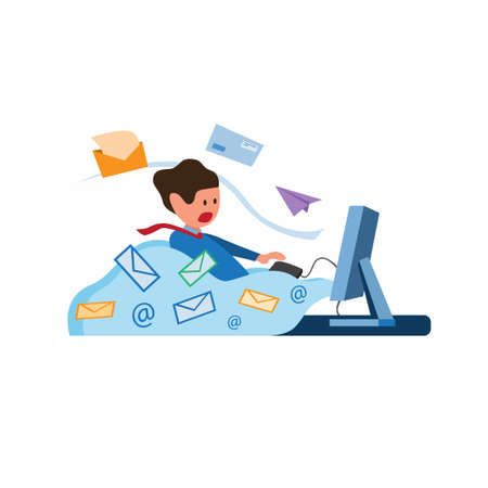 office worker with full of envelope and email coming out from computer, inbox message full, email spamming illustration symbol in flat style vector Foto de archivo - 151733253