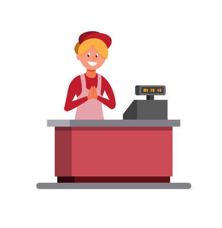 cashier woman give welcome to customer, Supermarket female cashier in uniform and apron stands behind cash, women work in store cartoon flat illustration vecor isolated in white background