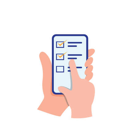 Hand holding smartphone touching screen as a online survey and review, online customers feedback for business. cartoon flat illustration vector isolated on white background