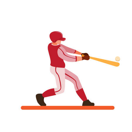 baseball player hitting ball for home run cartoon flat illustration vector isolated in white background