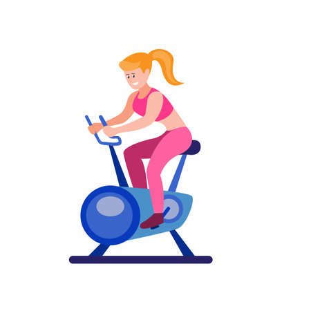 girl riding stationary bicycle in gym or home, cartoon flat illustration vector isolated in white background