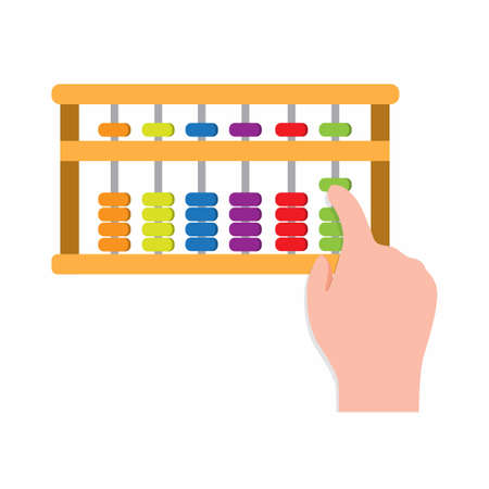 hand with abacus, tools for learning mathematic for kids illustration cartoon vector isolated in white background