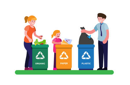 people or family put trash on garbage with sorting symbol of recycle plastic, organic and paper in cartoon flat illustration vector Vektorové ilustrace