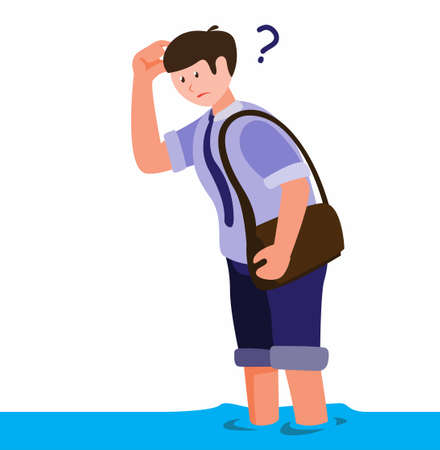man affected by the flood of confusion looking for goods or sources of flood disaster cartoon flat illustration vector Illustration