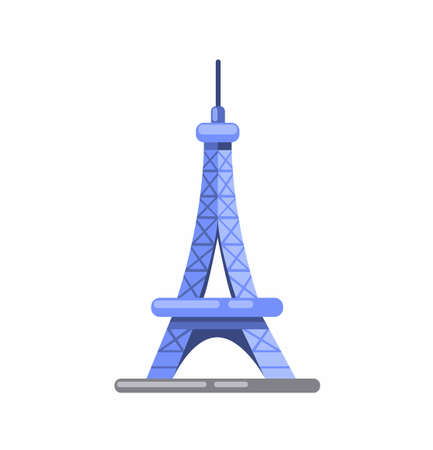 Eiffel Tower Paris, France famous landmark flat icon illustration design vector isolated in white background Ilustracja
