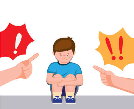 boy sitting feeling sad and cry being scolded parent, scolding with forefinger to children symbol cartoon flat illustration vector  イラスト・ベクター素材