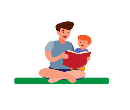 boy reading book with dad, parent story telling to children flat cartoon illustration background