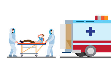 Paramedic worker wear full protection suit from virus outbreak taking patient to the hospital, ambulance service in cartoon flat illustration vector
