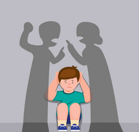 little boy close ear behind shadow sillhouette parent fight, upset tired son suffering from mom and dad arguing, parental conflicts hurt kid cartoon flat illustration vector