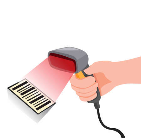 hand holding barcode scanner, product price identification in convenience store or mall cartoon flat illustration vector Ilustrace