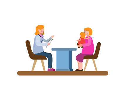 mother and baby consultation with doctor woman, parent medical check up children cartoon flat illustration vector