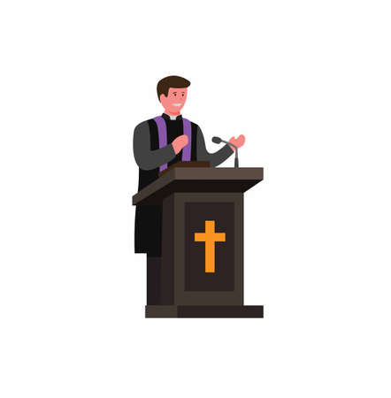 pastor, priest, preacher speaking in podium with bible, cartoon flat illustration vector isolated in white background