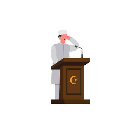 muslim man doing adzan for prayer call in podium with microphone in mosque, religious time prayer symbol cartoon flat illustration vector in white background