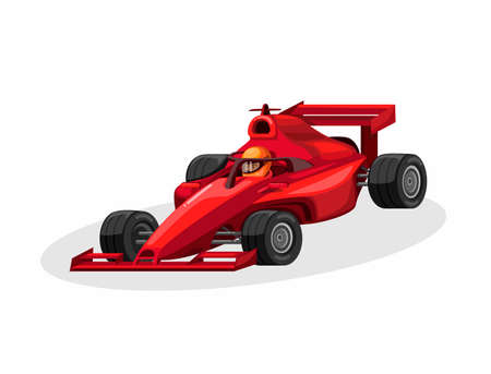formula driver and racing car with halo aka head guard in red color. race sport competition concept cartoon illustration vector on white background