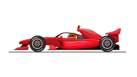 Formula car and driver with halo aka head guard from side view concept in cartoon illustration vector on white background Vecteurs