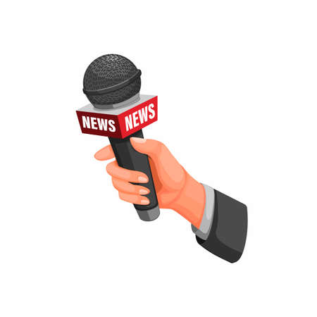 journalist interview. hand holding microphone with news symbol concept in cartoon illustration vector on white background