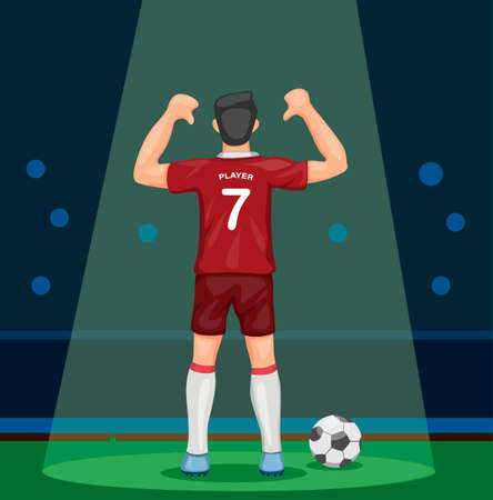 soccer player in red uniform scoring goal celebration showing number from back view in stadium with spotlight concept in cartoon illustration vector Ilustração
